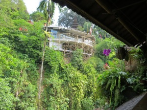 The view from Murni's Warung in Campuhan of the Blanco monstrosity being built next to Bridges Restaurant